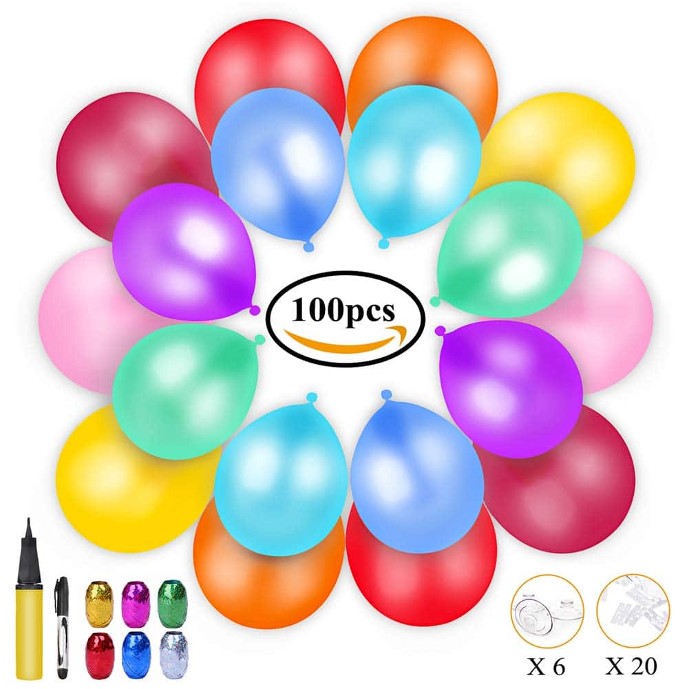 100 globos de colores, bomba para inflar y cintas