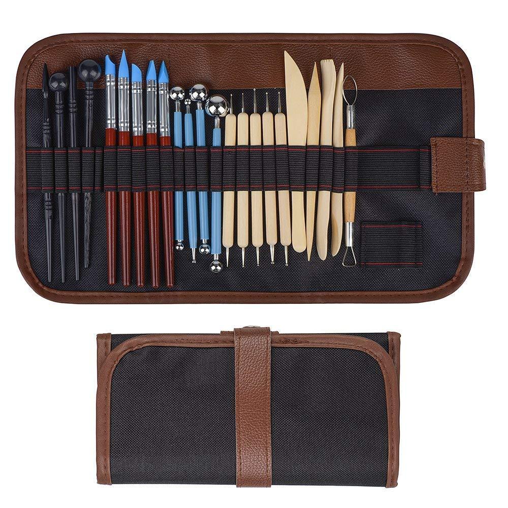24 pcs para Cerámica de Arcilla Polymer Clay Tools incluye Herramientas Punteadoras Herramientas de Cerámica de Madera