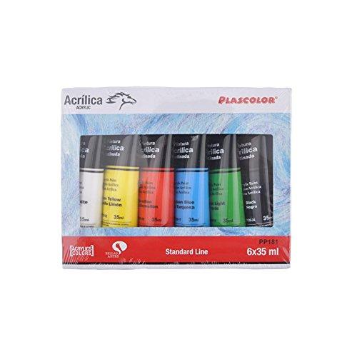 Pack de 6 tubos de pintura acrílica multicolor primarios plascolor