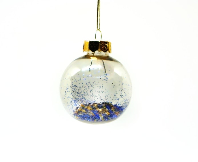 Bola de Navidad Transparente decorada con purpurinas