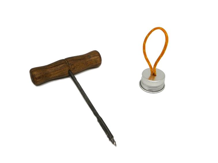 barrena de mano y tapon de rosca de aluminio con orificio para poner un bucle de cuerda