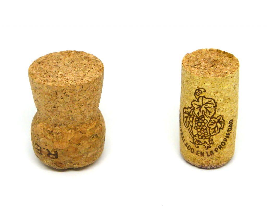 taponde corcho con forma de seta y tapon de corcho con forma estandar cilindrica