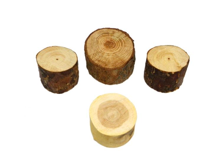 tocones de distitntas maderas para hacer hotel de insectos