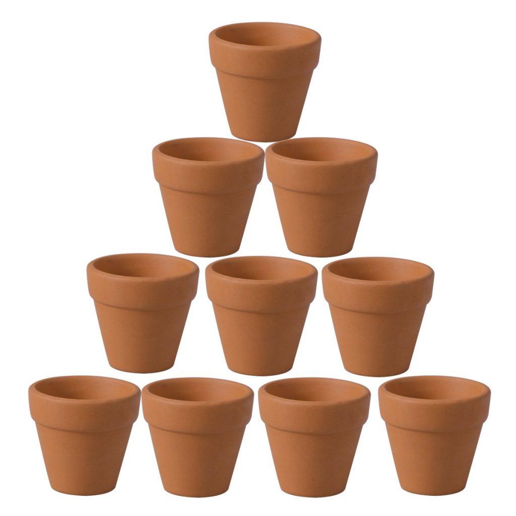 10 mini macetas de barro de terracota
