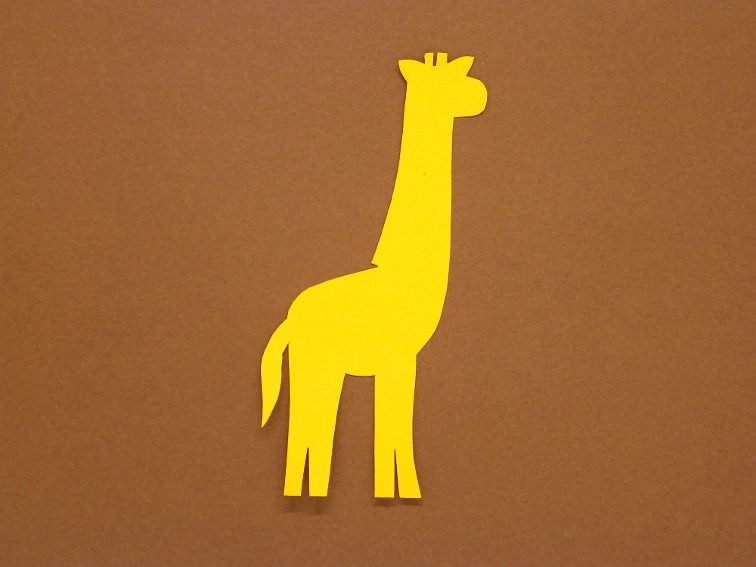 cartulina de color marron y amarillo para hacer un marcapaginas de una jirafa