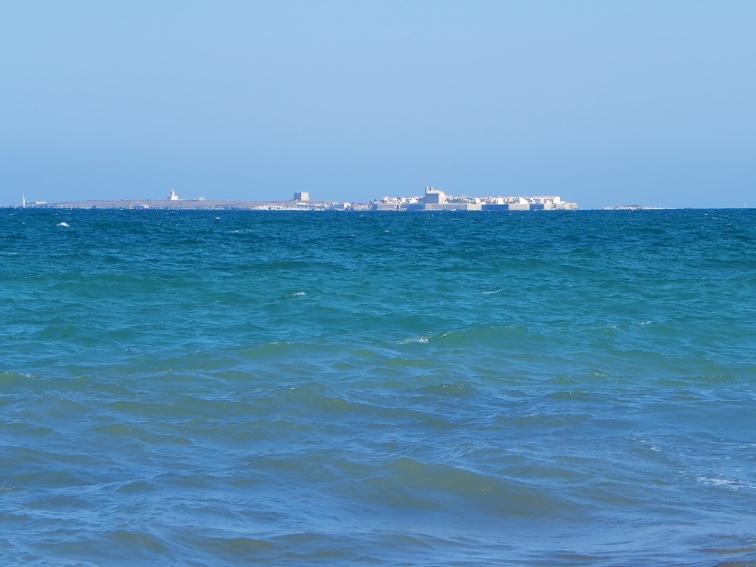 isla de tabarca vista desde las calas de las cadenas en santa pola