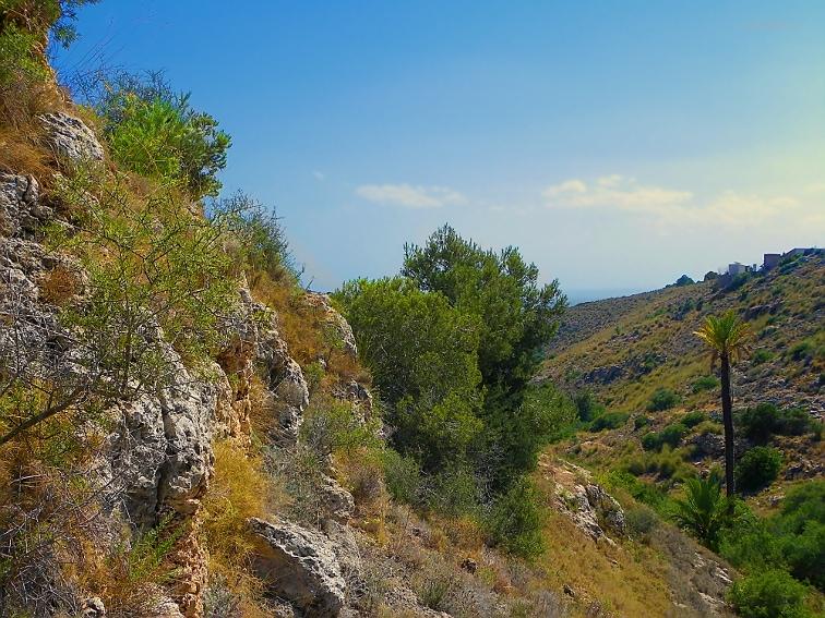 vista de la casa de la tia amalia desde un pico del barranco en la sierra de santa pola