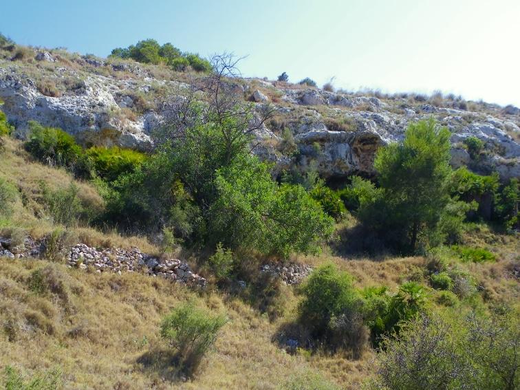 ladera del barranco de la tia amalia con muros de piedras y grietas en la roca santa pola