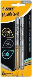 BIC Marking marcadores permanentes punta media Cónica Oro y Plata 2 unidades