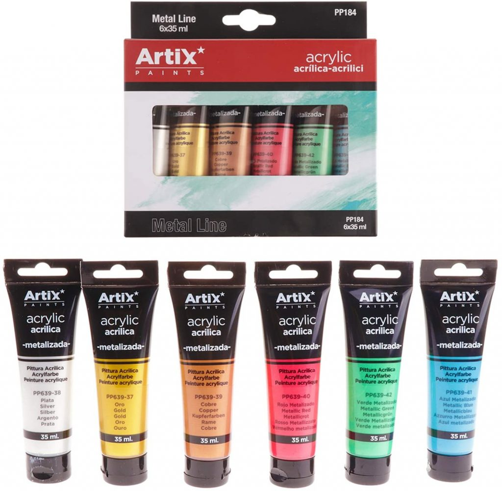 MP pinturas acrilicas colores metalizados 6 tubos 35ml