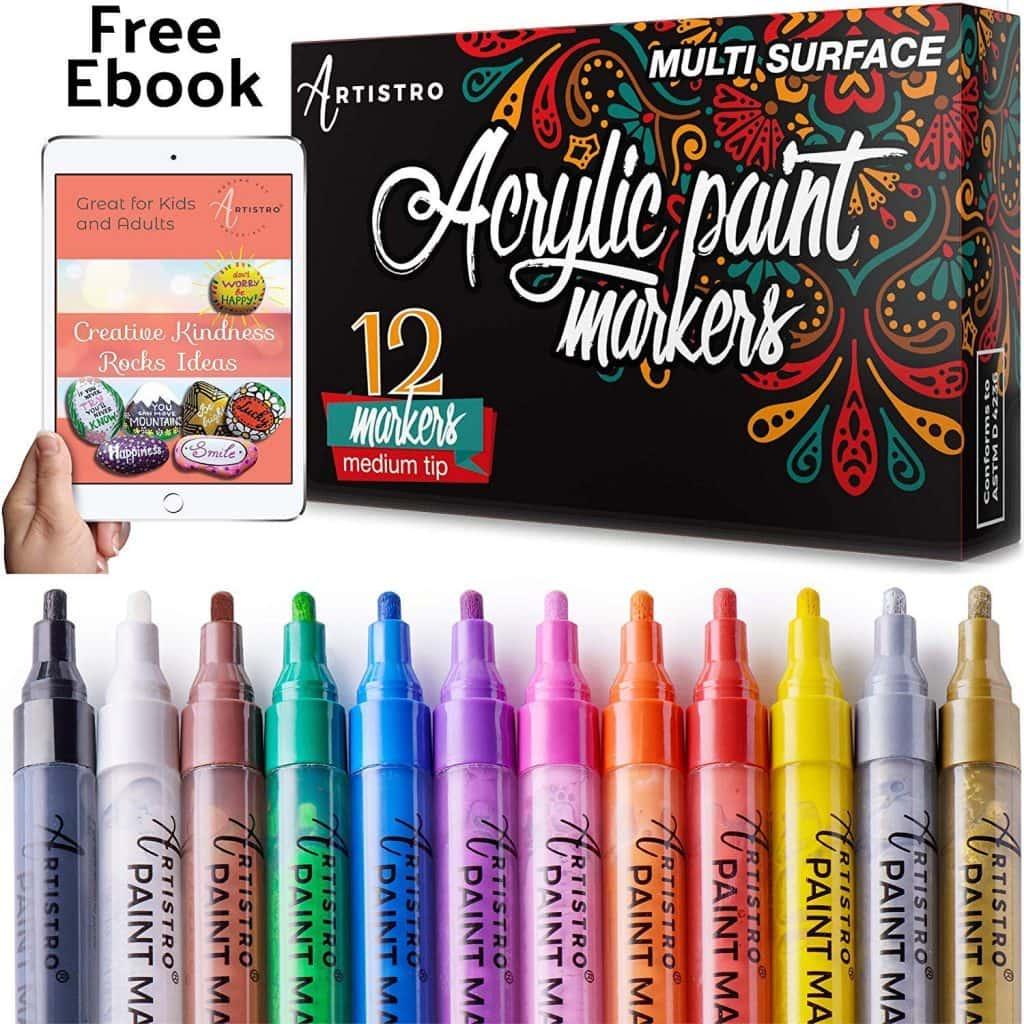 Rotuladores para pintura para cristal, cerámica, porcelana, madera, tejido, lona Set de 12 marcadores de pintura acrílica