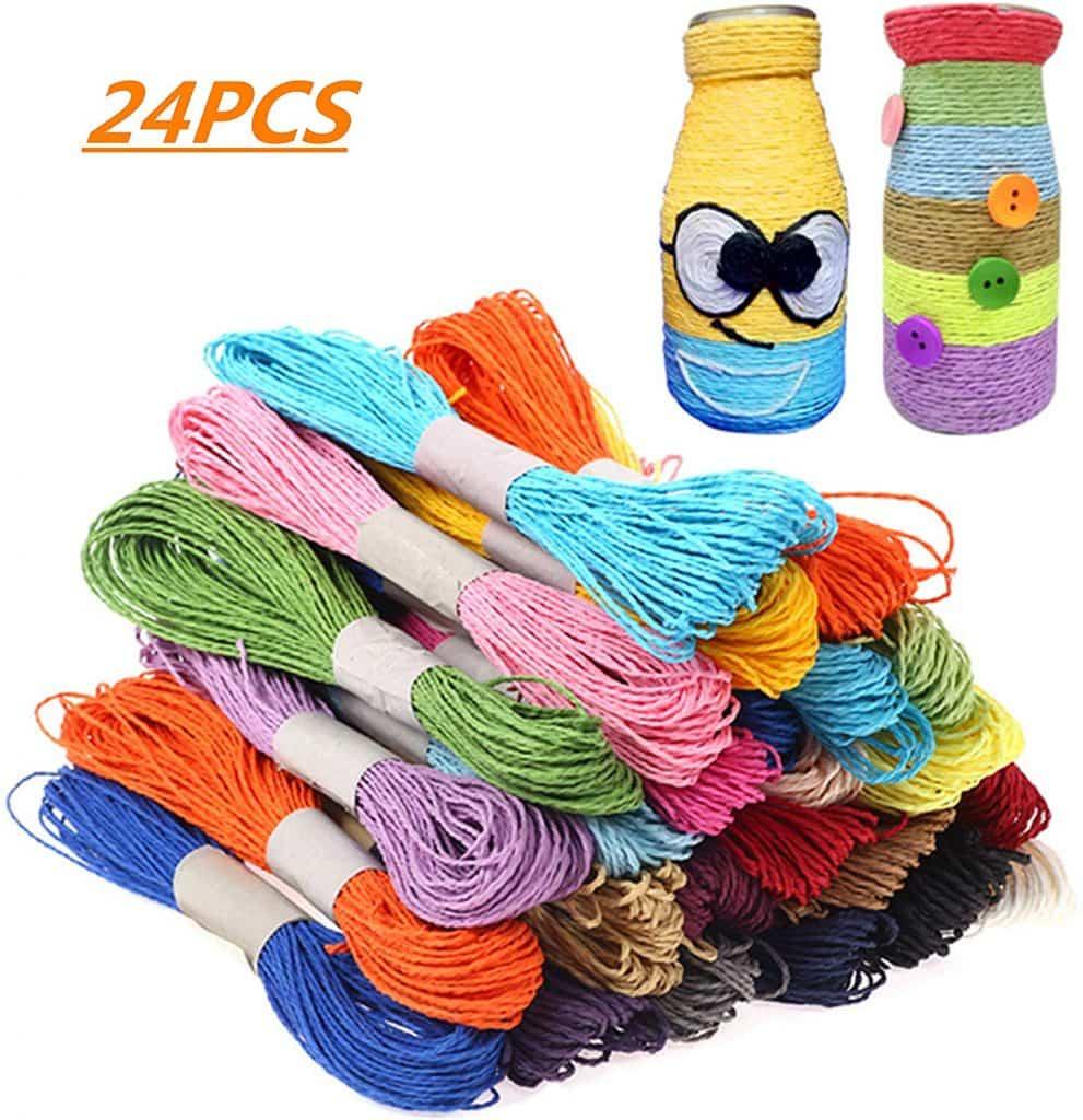 24 Piezas de Cuerda de Papel Multicolor