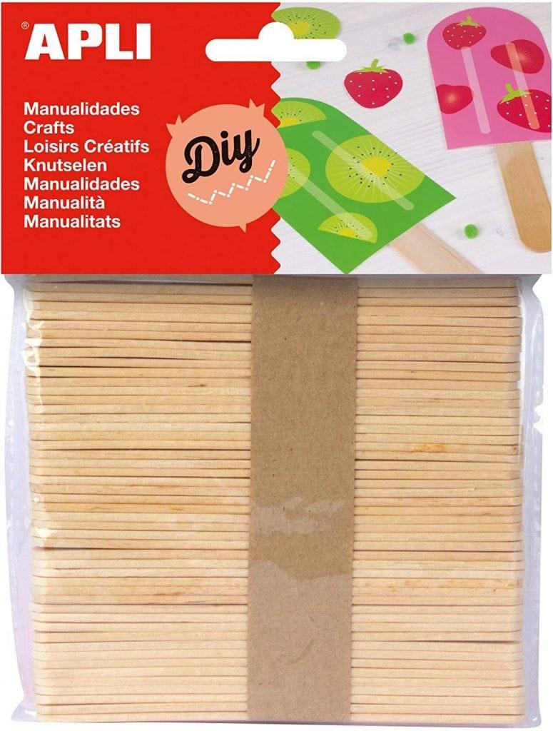 bolsa con 50 palos planos de madera para manualidades de apli
