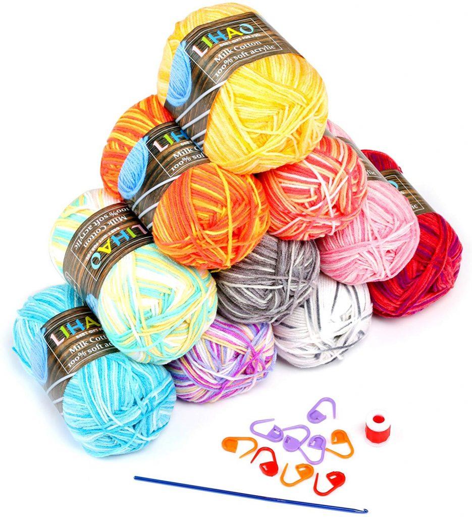 10 ovillos de lana multicolor estambre acrílico algodón