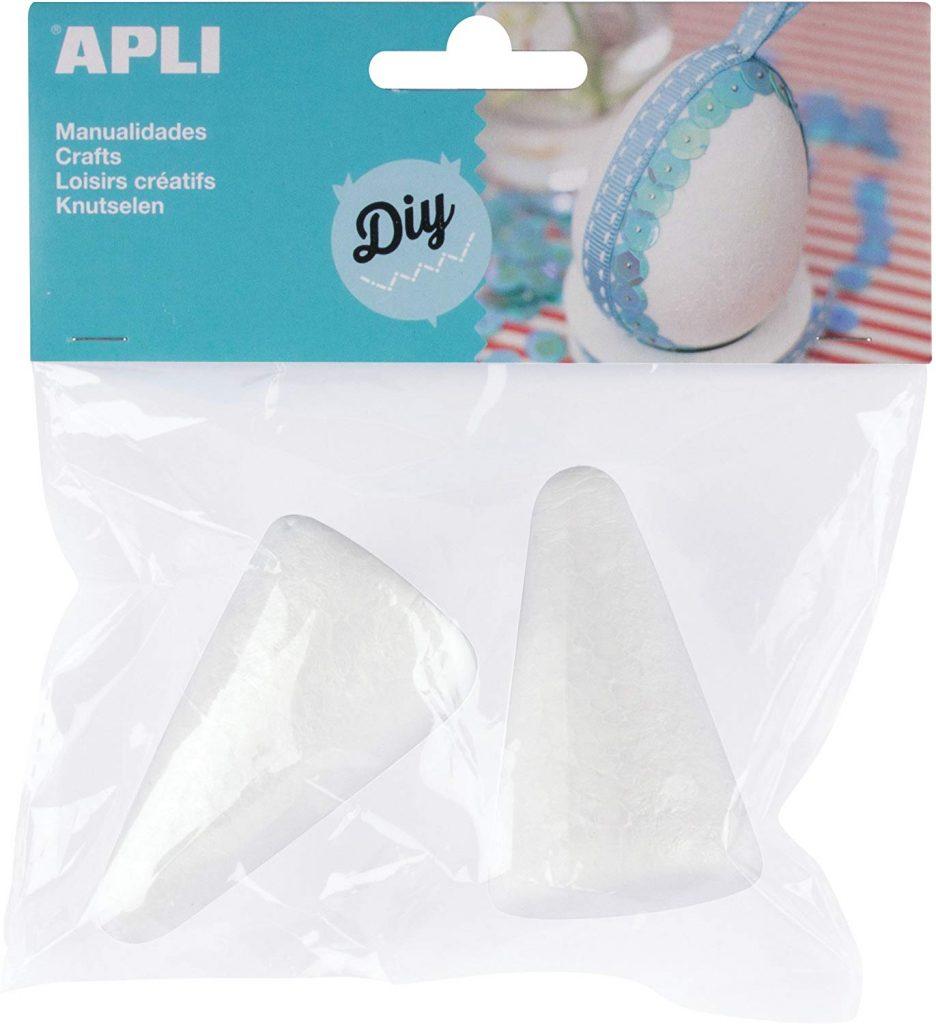 bolsa con 2 conos de poliestireno de color blanco de 75 mm de altura