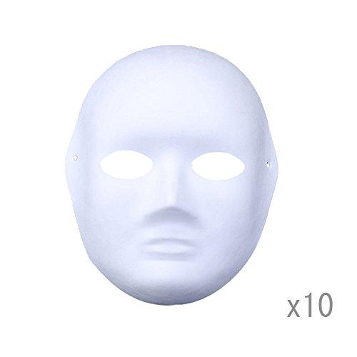 lote de 10 mascaras en blanco de papel para manualidades