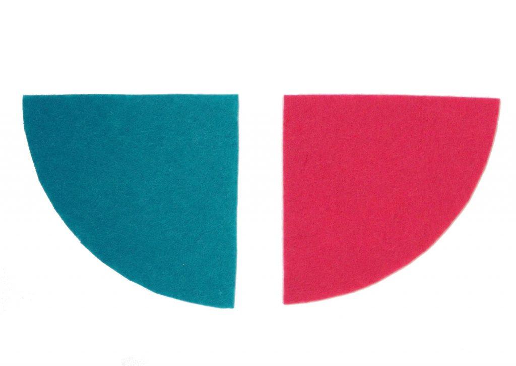 dos secciones de fieltro para hacer organizador de pinceles
