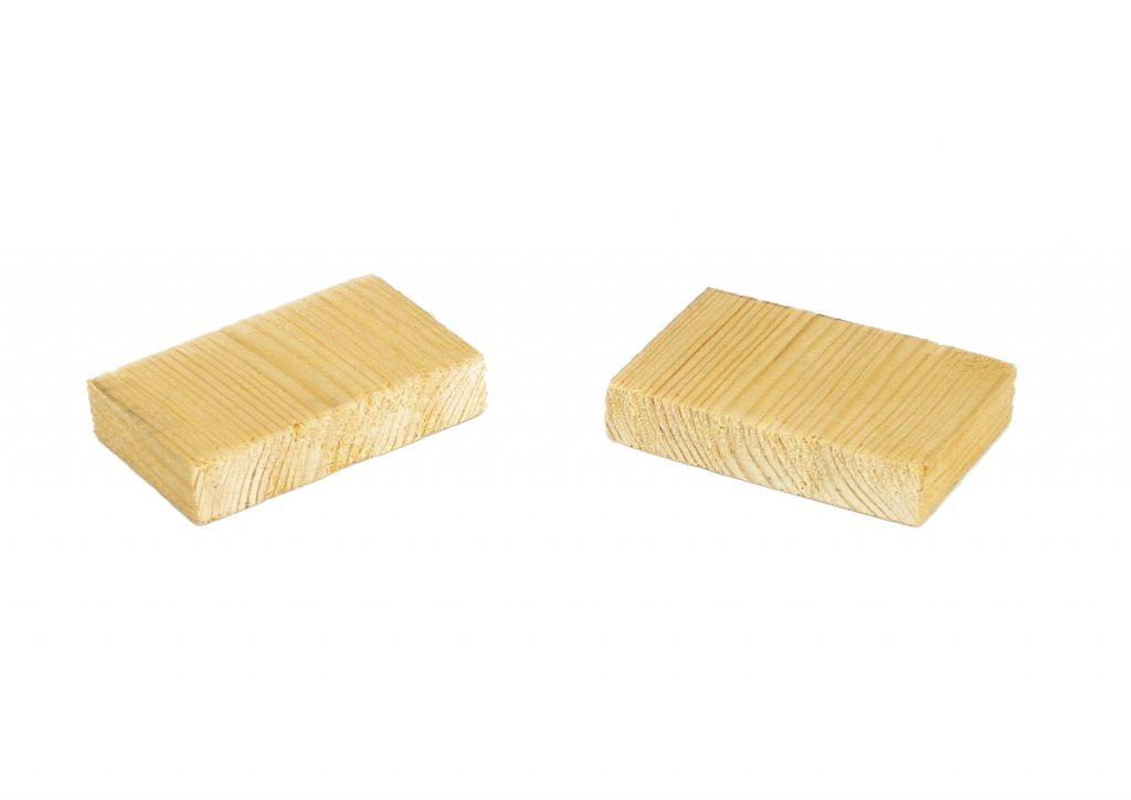 dos piezas de madera de pale para hacer portallaves