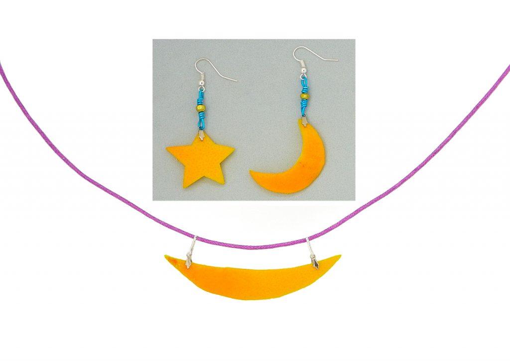 pendientes y collar hecho con cascara de naranja y accesorios de bisuteria