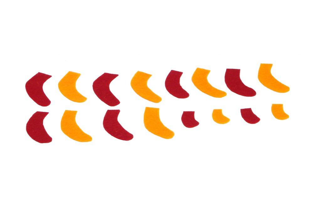 piezas de fieltro de colores para hacer patas del cangrejo de peluche