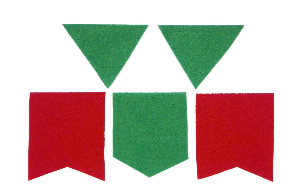 banderines de fieltro para hacer guirnalda de navidad