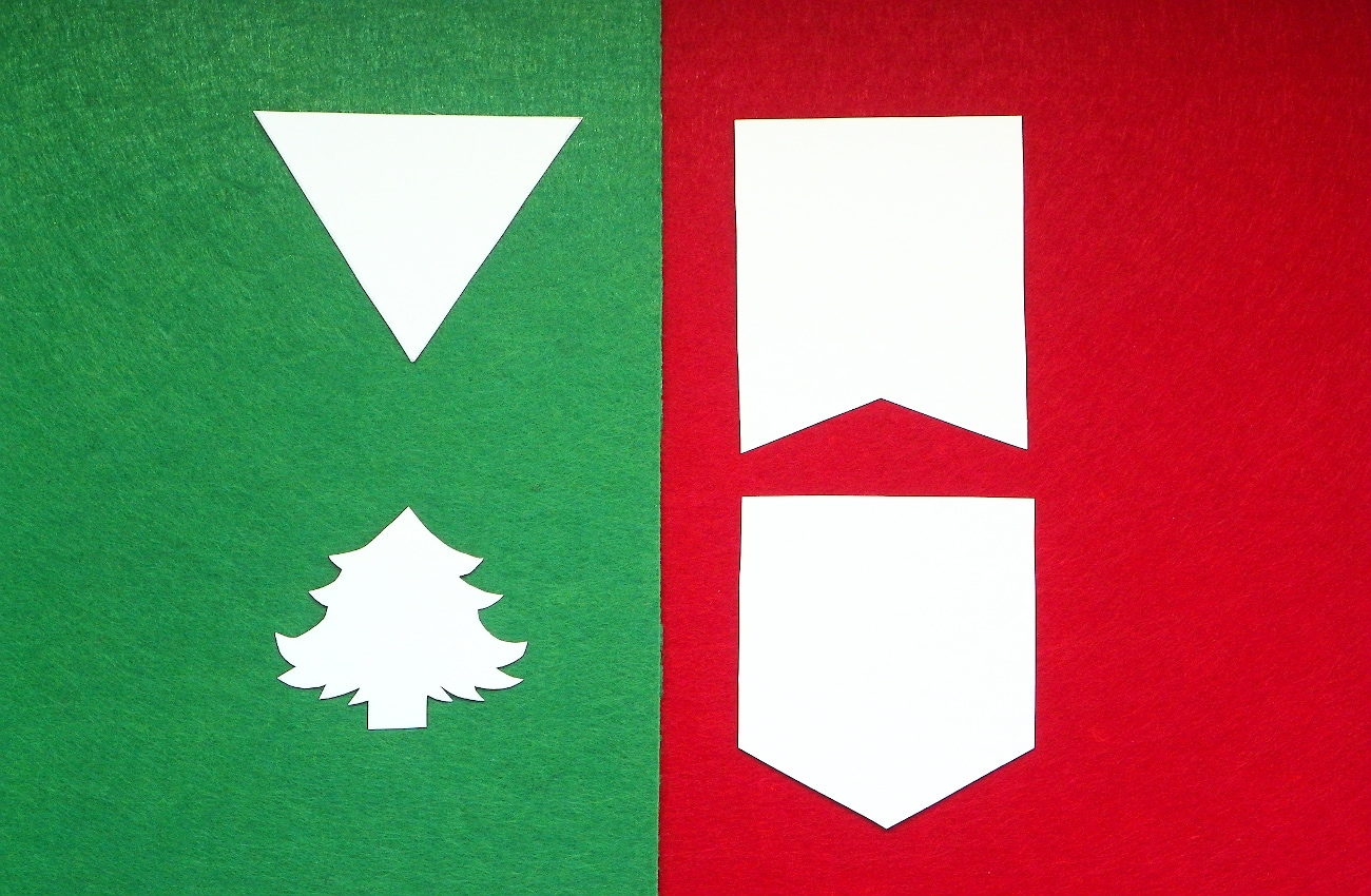 fieltro de colores y plantillas para hacer guirnalda de navidad