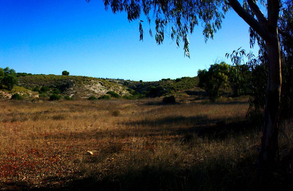 vista del barranco y paraje de la fulla roja en la sierra de santa pola