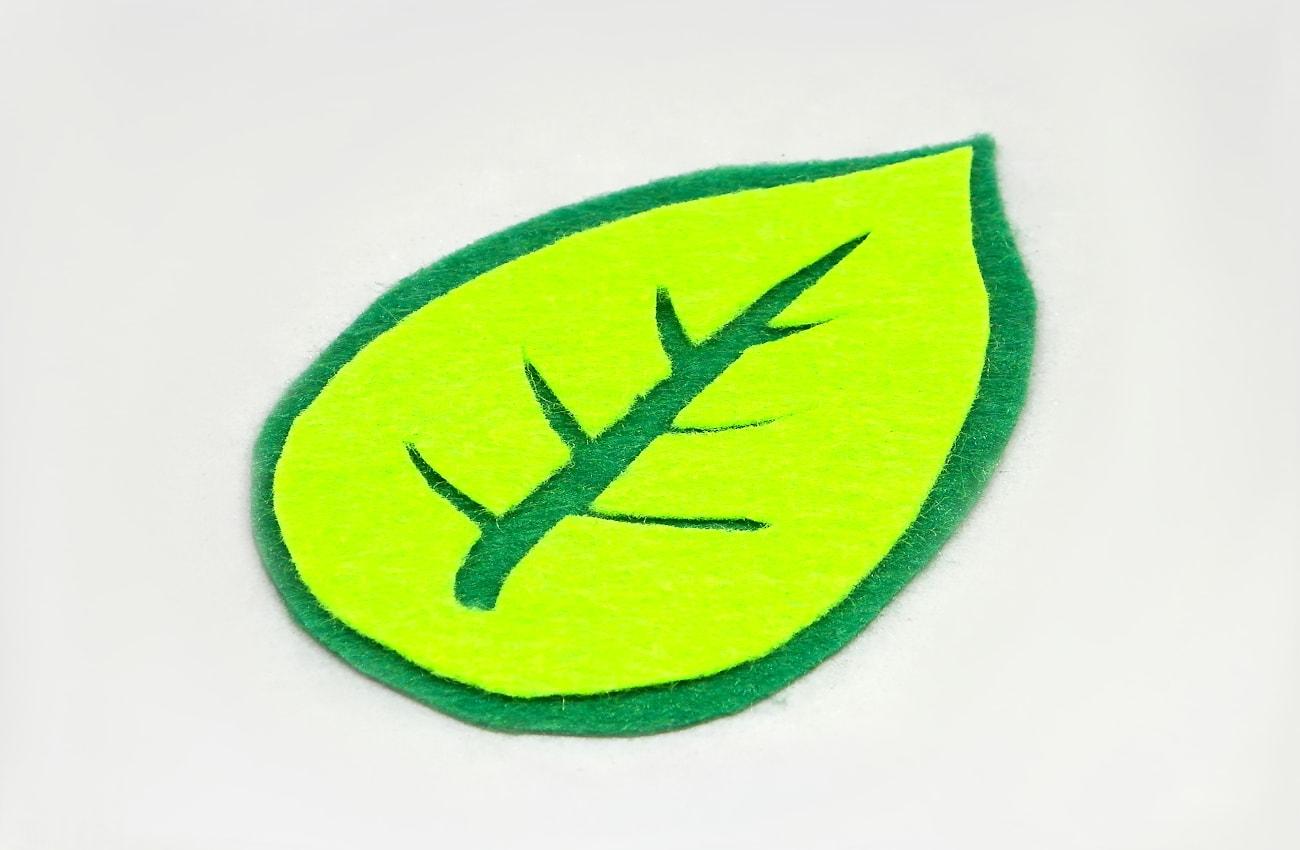 hoja verde con nervios hecha con laminas de fieltro de colores