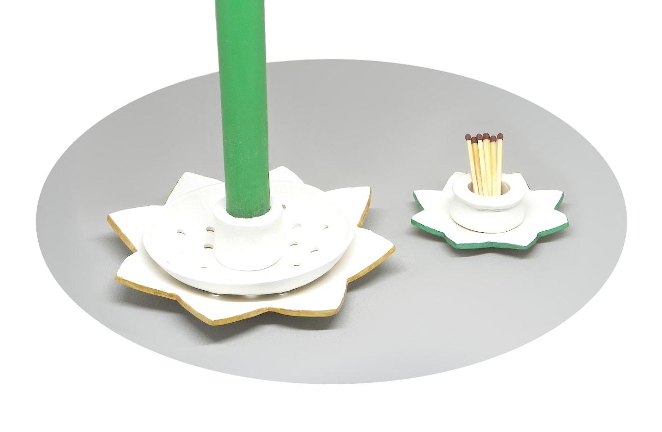 candelero para velas alargadas y porta cerilla hechos con pasta para modelar