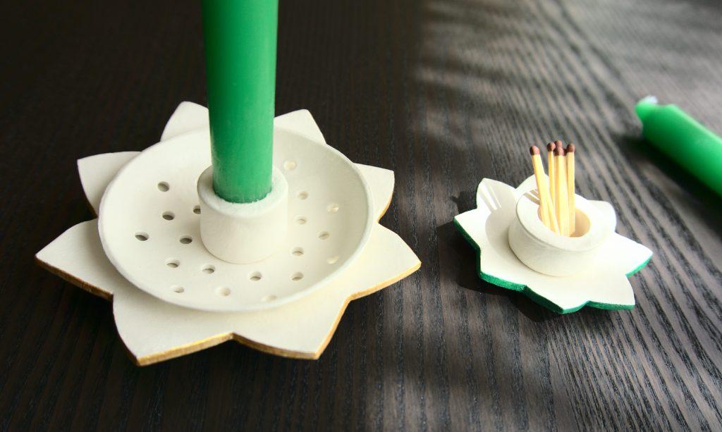 candeleros con pasta para modelar y porta cerillas