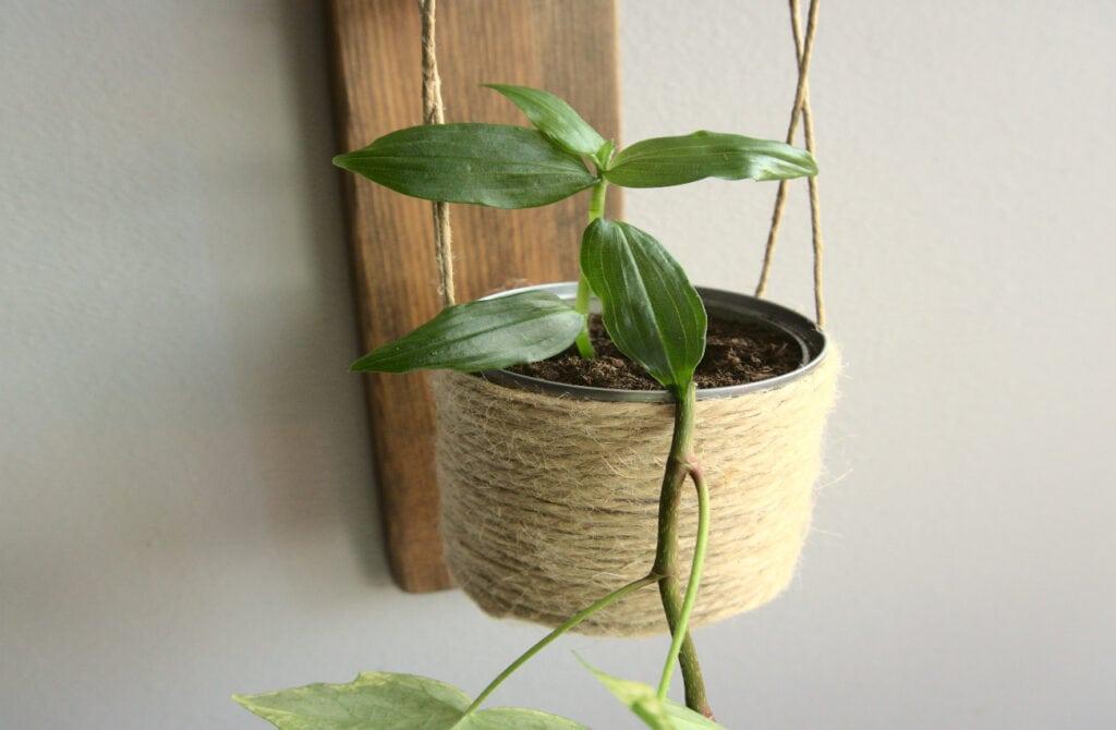 maceta hecha con una lata de conservas y cuerda de yute