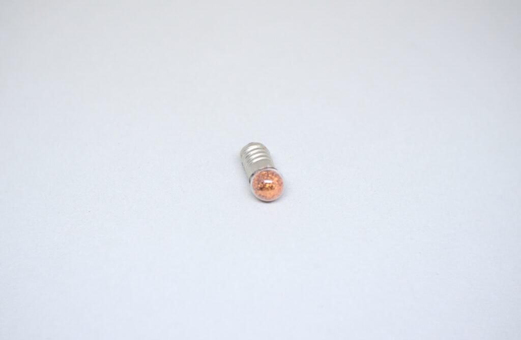 bombilla para linternas rellena con purpurina de color cobre
